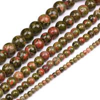 Lots 5-40X Natural Shiny Unakite Jasper Gemstone Charm Loose Spacer Beads 4-12MM