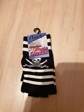 Ladies New Black and white stripe Magic Finger Gloves with skull One size