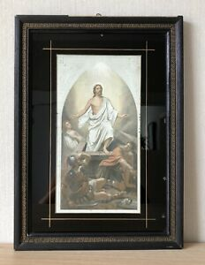 Antique Picture Frame Gründerzeit BAR Black Gold Print Holy Icon Jesus