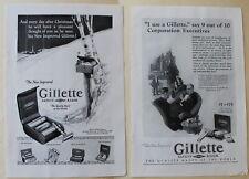 2 x Gillette Safety Razor  Vintage Magazine Print Ads 1926