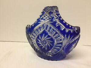 Cobalt Cut to Clear Heavy Lead Crystal Bohemian Glass Basket ~ Germany ~ GL1