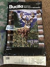 Vtg Latch Hook Rug Canvas 30x50 Bucilla Adirondack Hunter Deer Buck Stag