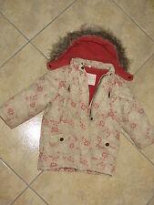 Manteau d'hiver à capuche fleurs beige et rose - fille - 3 ans KIDKANAÏ TBE