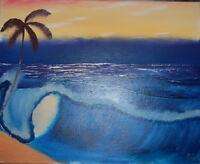 "Original Oil Painting ""PALM TREES BEACH #2"" on Canvas 20"" x 16"" (Art/Landscape)"