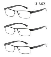 3 Pack Mens Reading Glasses Spring Hinges Business Metal 1.5 2.0 2.5 3.0 3.5 4.0