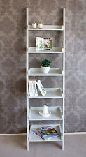 Wooden Tall Narrow Ladder Shelf 6 Shelving Unit Bookcase - off White Painted