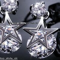 925 Silver Star Crystal Stud Dangle Earrings Gifts for Her Girl Daughter Mum FR2