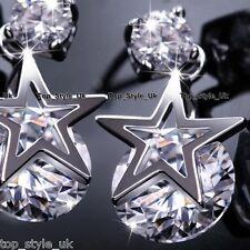 925 Sterling Silver Star Crystal Stud Dangle Earrings Gift for best friend Girl