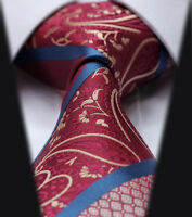 Mens Tie in Satin Burgundy Red Blue & Gold - Wedding Floral Paisley Silk Gift