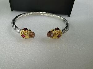 5mm David Yurman Renaissance Bracelet with Citrine Rhodalite Garnet and 14K Gold
