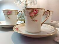 Antique Nippon White Pink Gold Roses Chocolate Cocoa Coffee Cup and Saucer Set