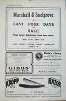 Old Antique Print 1905Advert Marshall Snelgrove Gibbs Shaving Kropp Mudie 20th