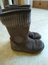 Girls Clarks 7.5 G Fur Lined Knitted Top Winter Suede Boots see photos