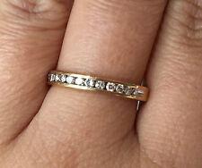 10k Yellow Gold Natural Diamond Channel Set Wedding Band Ring sz6.75