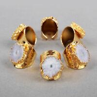 5Pcs Natural Solar Quartz Stalactite Ring Crystal Band Ring Gold Plated BG0439