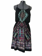 Maurices Dress Size Small Black Aztec Knee Length Sleeveless Stretch