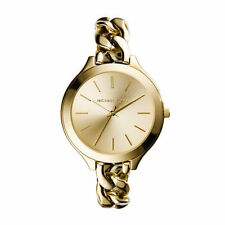 MICHAEL KORS Slim Runway Gold Twisted Chain Link Bracelet Watch 42mm MK3222