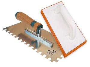MonsterGrip Notched Trowel S/Steel 20mm Trowel Cork Handle +Orange Sponge Float