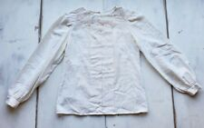 Casual Corner Long Sleeve Blouse White Floral Detail Lace Button Back Normcore