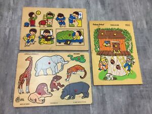Lot of 3 Vintage Wooden Wood Peg Puzzles Fisher Price Treehouse Animals 1970's
