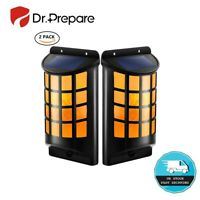 6X LED Solar Flame Wall Light 91LED Flickering Outdoor Garden Path Fence Light
