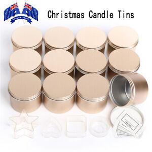 16pcs Gold Empty Tin Jars DIY Candle Making Storage Case Organizer Gift AU Stock