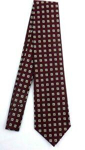 Polo Ralph Lauren Italy Maroon Geometric Square Pattern Handmade Mens Silk Tie