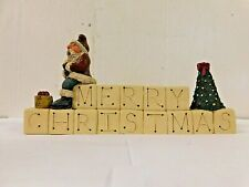 1991 Gail Laura Merry Christmas Sign with Santa & Christmas Tree