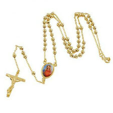 Gold Filled Rosary Pray Bead Blessed Mary Chain Jesus Cross mans Chain Necklace