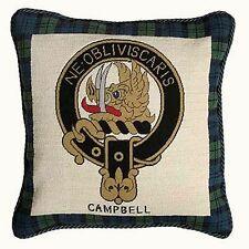 Campbell Cushion  Scottish Clan Needlepoint Pillow Handmade Scotland Tartan