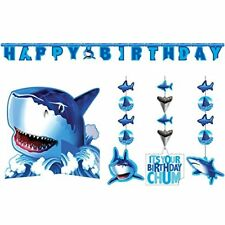 Shark Splash Party Decorations Supply Pack Hanging Cutouts, Banner, Centerpiece