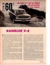 1960 RAMBLER REBEL CUSTOM 250/200 HP ~ ORIGINAL 2-PAGE ROAD TEST / ARTICLE / AD