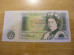 A One Pound Banknote D Somerset AU63 697893, Used still Crisp nice note