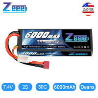 Zeee 80C 6000mAh 7.4V 2S Hardcase LiPo Battery Deans Plug for RC Car Truck Boat