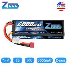 Zeee 80C 6000mAh 7.4V 2S Hardcase LiPo Battery Deans Plug for RC Car Truck Boat