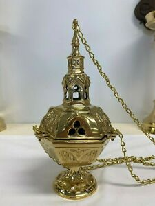 Solid Heavy Brass Gothic Thurible With Liner - Mega Sale Now On!
