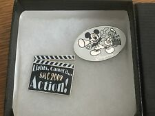 DISNEY STORE UK CAST MEMBER MANAGER CONFERENCE 2 PIN SET LIGHTS CAMERA ACTION