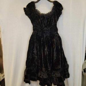 Dracula Clothing Womens Gothic Witch Victorian Dress Black Ruffle L/XL 16 New