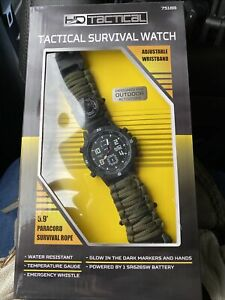 HD Tactical Survival Watch - Paracord Whistle Compass Laser Temperature Gauge