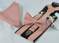 Warm Dusky Dusty Rose Pink Blush Pink Bow Tie Suspenders Pocket Square All Ages