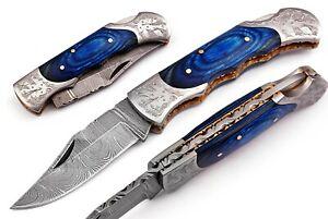 Hand made Damascus steel Folding/Pocket Hunting knife , Razor Sharp DB-7080-BL