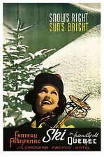 SKI QUEBEC, Vintage Advertising Ski Poster Reproduction Canvas Print 20x30
