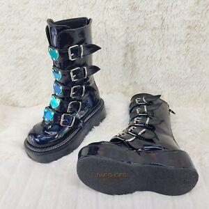 Emily 330 Black Patent Holo Platform Mid Calf Heart Combat Punk Boots RESTOCKED