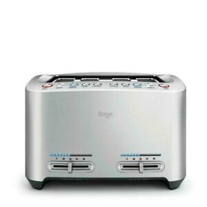 Sage The Smart Toast 4-Slice Toaster BTA845 Wide Slots Brushed Stainless Steel