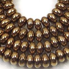 50 Czech Glass Rondelle Beads - Bronze 4x2mm