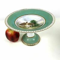 19th C English Porcelain Compote Cake Stand Hand Painted Green Gold Country Home