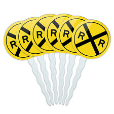 Railroad Crossing Traffic Sign Train Set of 6 Cupcake Picks Toppers Decoration