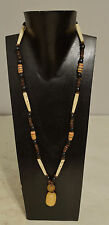 Necklace Black Buri Nut Bone Amber African Glass Seed Necklace