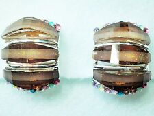 CLIP ON Brown glass multi colour crystal silver tone earrings Approx.17 by 22mm