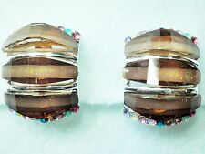 CLIP ON Brown Glass & Multi Colour Crystal Silver Tone Earrings Approx.17 x 22mm
